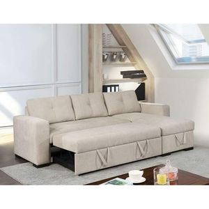 BEIGE SOFA SECTIONAL SLEEPER BED CHAISE HIDDEN STORAGE for Sale in Temecula, CA