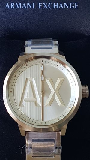 New Authentic Men's Goldtone Armani Exchange Big Face Watch ⌚⌚⌚ for Sale in Montebello, CA