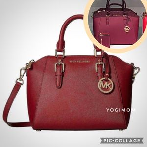 BRAND NEW WITH TAGS FROM MICHAEL KORS AUTHENTIC CIARA TOTE SATCHEL HANDBAG PURSE SHOULDER MESSENGER BAG LARGE SAFFIANO LEATHER SCARLET MERLOT for Sale in Northville, MI