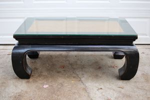 Vintage Chinese Wooden Coffee Table with Glass Top and Rattan Woven Center for Sale in Raleigh, NC