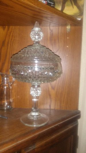 Vintage glass, crystal cut pedestal antique bowl with lid for Sale in Ceres, CA