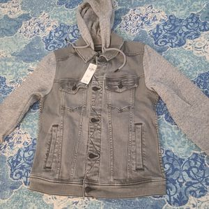 Hollister X-small Hoodie Jean Jacket With Sweater Sleeves Grey for Sale in The Bronx, NY