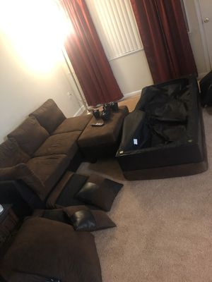 3 Piece Chocolate Sectional Couch for Sale in Oxon Hill, MD