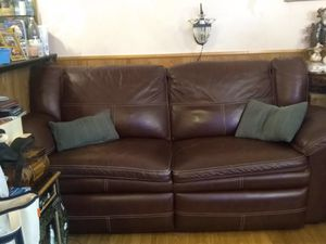 Convertible recliner sofa genuine leather for Sale in Los Angeles, CA