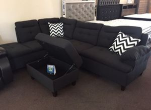 Brand New Black Linen Sectional Sofa Couch + Storage Ottoman for Sale in Kensington, MD