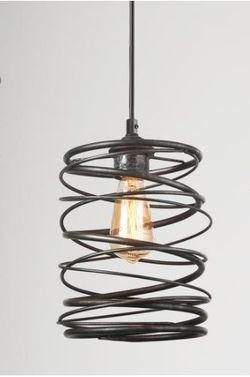 LNC Farmhouse Pendant Lighting, Industrial 1-Light Mottled Black Mini Pendant Chandelier, Cage Kitchen Light Fixture for Sale in Dallas,  TX