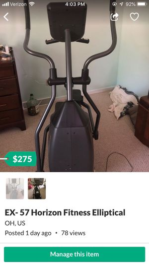 EX- 57 Horizon Fitness Elliptical for Sale in Columbia Station, OH