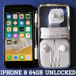 Iphone 8 (64GB) Factory-UNLOCKED + Accessories for Sale in Bailey's Crossroads, VA
