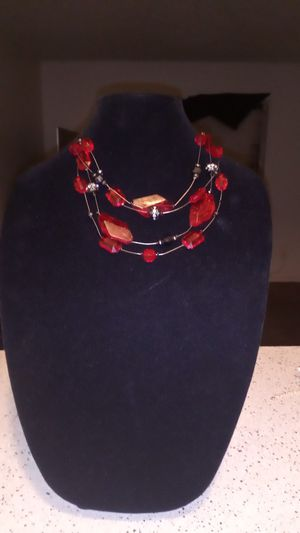 Nice red red diamond set with earrings for Sale in San Antonio, TX
