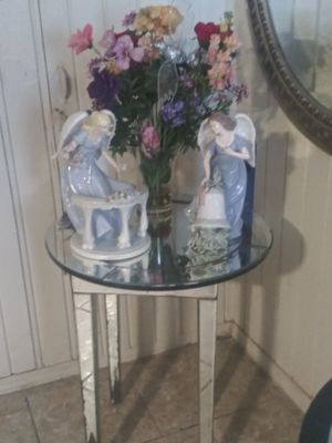 Angels vase and glass mirror table $50. Collectible angels for Sale in San Antonio, TX