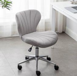 Grey velvet desk chair vanity chair silver office makeup task chair vanity silver chair for Sale in Yorba Linda,  CA