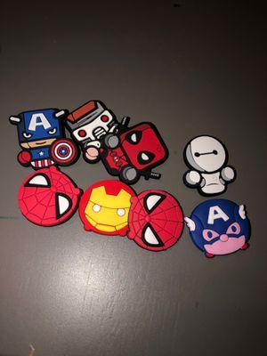 8 superhero charms shoe jibbitz Spider-Man darth vador captain America for Sale in Stockton, CA
