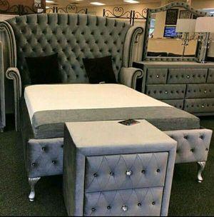 $29 down no credit needed silver velvet queen size 5 piece bedroom set for Sale in Hyattsville, MD