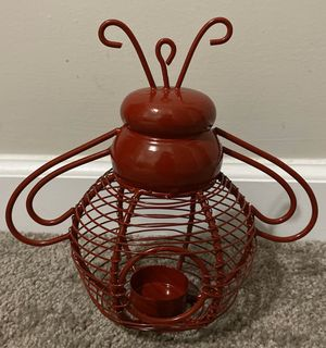 RED METAL BUMBLE BEE GARDEN OUTDOOR CANDLE HOLDER HOME DECOR ACCENT for Sale in Chapel Hill, NC