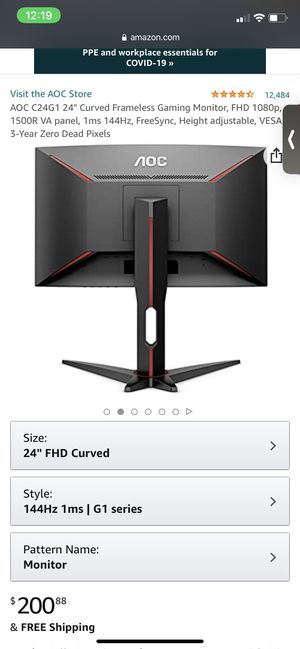 Aoc Curved & Adjustable Monitor for Sale in Colorado Springs, CO