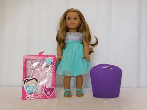 American Girl Doll Lea Dark Blonde Hair Brown Eyes + Truly Me Blue Sea Dress + Princess set + Tote for Sale in Lake Elsinore, CA