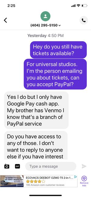 Universal tickets are a scam for Sale in Orlando, FL