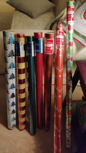 7 new glitter and or metallic Christmas wrapping paper. 20 gift boxes for Sale in Tacoma, WA
