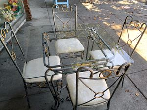 """#100380 Square Bevelled Glass and Metal Dining Table and 4 Chairs 30"""" Square x 29"""" Tall for Sale in Oakland, CA"""