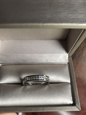 14K white gold plated over Sterling Silver with Simulated Diamonds ring size 8 for Sale in Wood Dale, IL