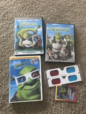 Shrek, shrek 2, Shrek 3D dvd for Sale in Queen Creek, AZ