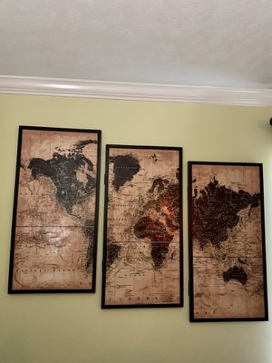World Map Pollyanna Wall Art 3 Piece Set for Sale in Knoxville, TN