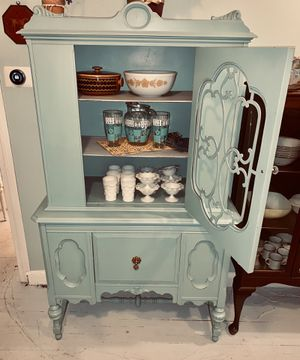 Robin's egg blue Jacobean china cabinet hutch curio for Sale in South Kensington, MD