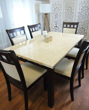 White dining table set 6 chairs for Sale in Baltimore, MD