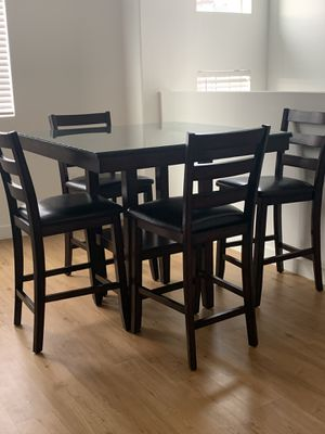 Brown wood dining table with top glass & 4 chairs for Sale in South Jordan, UT