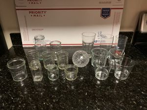Lot of 17 Assorted Glassware Including Jars and Drinking Glasses for Sale in Arlington, VA