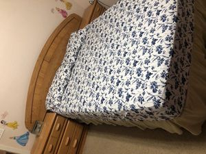Queen Bed With Side Table Fram Box and Matress for Sale in Gilbert, AZ