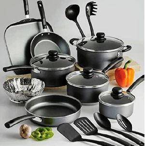 18 Piece Nonstick Pots & Pans Cookware Set Kitchen Kitchenware Cooking NEW (GRAY) for Sale in Brooklyn, NY