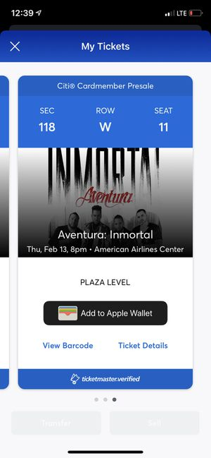 Aventura tickets in Dallas low level for Sale in Irving, TX