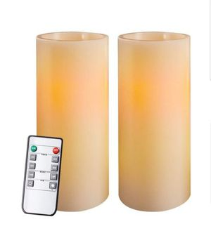 """Homemory 9"""" Amber Yellow Light Flameless Candles Battery Operated LED Pillar Real Wax Flickering Unscented Candles with Timer and 10-Key Remote, for Sale in Bakersfield, CA"""