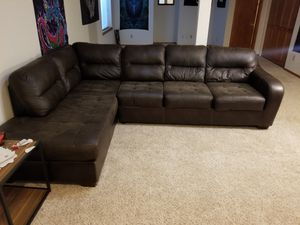 Dark Brown Leather Sectional Couch for Sale in Colorado Springs, CO