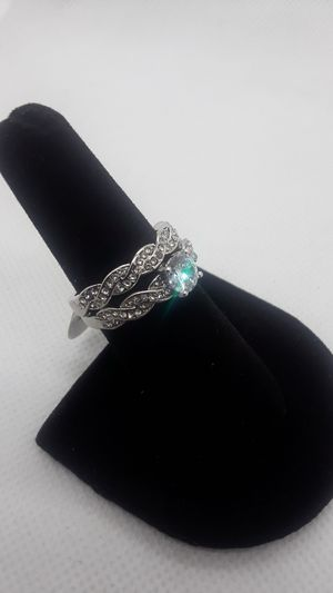Sparkles! Size 7 engagement wedding ring set large crystal diamond promise ring for Sale in Ontario, CA
