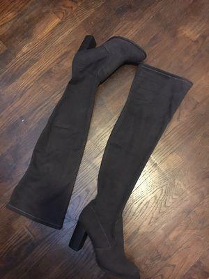 Suede Dark Grey Thigh High Heel Boots UK 5.5 US 8 for Sale in Nashville, TN