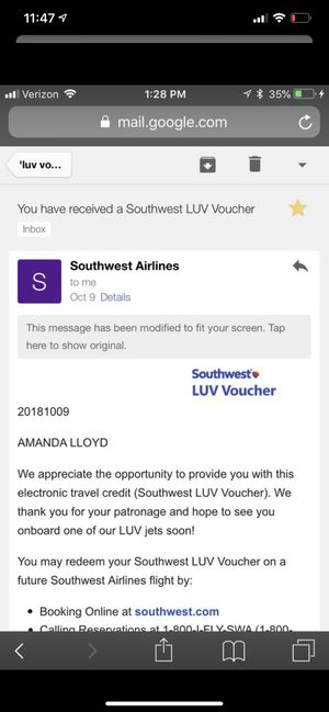 Southwest luv voucher. for Sale in Bowie, MD