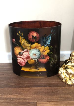 Gorgeous hand painted wooden trash can for Sale in Smyrna, GA