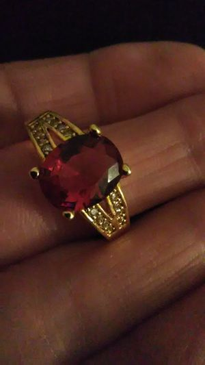Size 9 red sapphire 18K gold filled ring marked for Sale in Lombard, IL