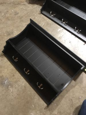 Wall shelf with hooks for Sale in Brooks, OR