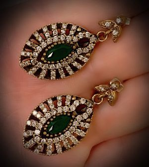 EMERALD FINE ART EARRINGS Solid 925 Sterling Silver/Gold WOW! Brilliantly Faceted Marquise Cut Gemstones, Diamond Topaz M5604 V for Sale in San Diego, CA