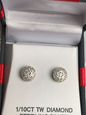 genuine diamond and sterling silver stud earrings for Sale in Tacoma, WA