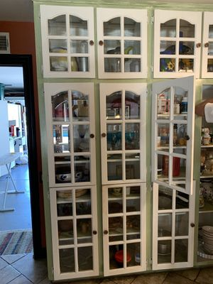 Kitchen glass doors. FREE . We are giving these away. We are remodeling our kitchen . These doors spruced up my kitchen for years , hoping someone wo for Sale in Lake Forest, CA