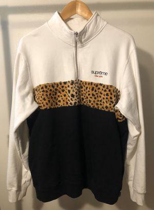 Supreme Leopard Panel Half Zip Sweatshirt (White) for Sale in Pomona, CA