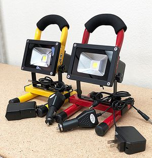 (NEW) $25 each Cordless 10W Portable Work Light Rechargeable LED Flood Spot Camping Lamp (Red or Yellow) for Sale in Whittier, CA