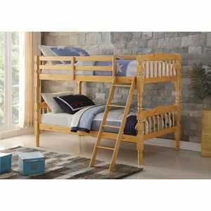 NATURAL FINISH TWIN OVER TWIN SIZE BUNK BED for Sale in Pico Rivera, CA