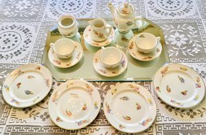 Beautiful 1944 Antique Warwick Greenmark Childs China Tea Set - floral, gold rimmed. Perfect condition. for Sale in Hanover, PA