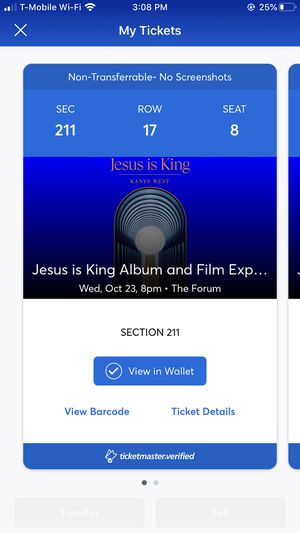Kanye 2 tickets seat 8,9 for Sale in Whittier, CA