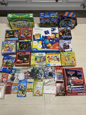 HUGE LOT OF KID'S PUZZLES, MATCHING GAMES, CARD GAMES AND FLASH CARDS for Sale in Hanover Park, IL